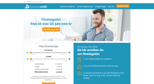 BusinessCredit - Lån upptill 500 000 kr